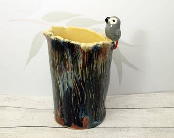 African grey parrot pen holder vase pencil vase or pencil holder Anita Reay cockatoo pencil holder