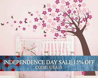 Independence Day Sale - Cherry Blossom Tree with Butterflies - Vinyl Wall Decals