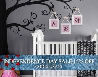 Independence Day Sale - Corner Tree Wall Decal, Swirly Branch Tree Decal, Nursery Tree Decal, Tree Over Crib Decal