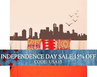 Independence Day Sale - City Skyline Decal - Vinyl Wall Decal