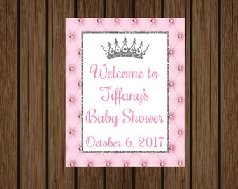 Baby Shower Welcome Sign, Princess Baby Shower, Princess Welcome Door Sign, Princess Pink and Silver Welcome Sign