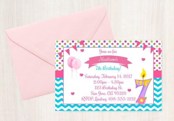 7th birthday 7th invitation birthday invitation printable il570xn stopboris Images