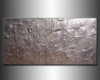Original Textured Modern Large Abstract Metallic Thick Texture Gallery Canvas Contemporary Fine Art By Henry Parsinia 48x24