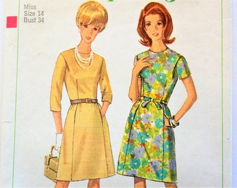 1960s Dress pattern, fitted front seam detail,  A line skirt collarless dress, vintage sewing pattern Simplicity 6892 misses size 14 bust 34