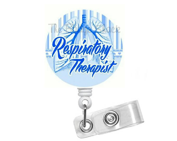 Respitory Therapist Badge Reel Blue - RT Badge Holder - Badge Pulls - Respiratory Specialist Badge Clip - Pulmonary Badge Reel - Lung Badge