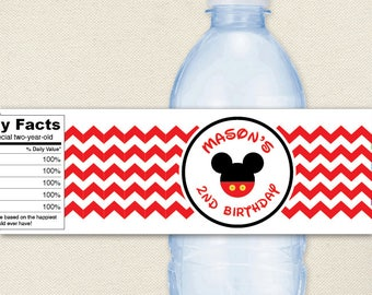 Mickey Mouse Party - Chevron Mickey Mouse Water Labels - 100% waterproof personalized water bottle labels
