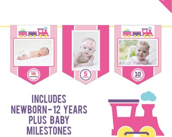INSTANT DOWNLOAD Pink Train Party - DIY printable photo banner kit - Includes Newborn through 12 Years, Plus Baby Milestones