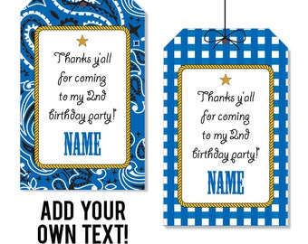 INSTANT DOWNLOAD Blue Country Western Party Favor Tags - Cowboy Party Favor Tags - EDITABLE printable birthday party favor tags