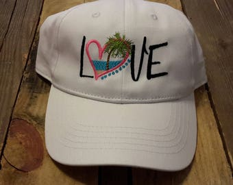 Embroidered love beach baseball cap,embroidered hat