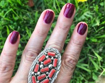 Vintage Rare Multi Coral Bars Ring