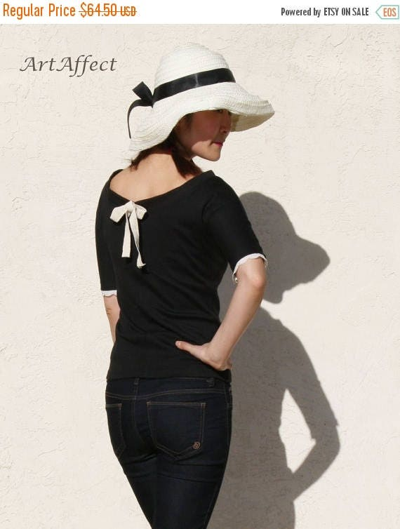 ON SALE Boatneck Top with Tie Back, Slim Black Tshirt, Lace Trim Top, Sweet Top, Short Sleeve Tshirt, Jersey Top  -Black jersey with ivory r