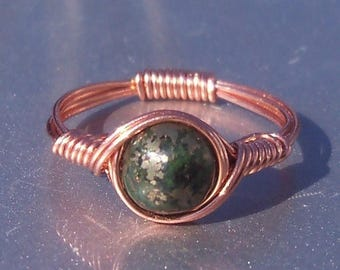 25% Off Sale Chalcopyrite Copper Wire Wrapped Gemstone Ring Green Lapis Lazuli