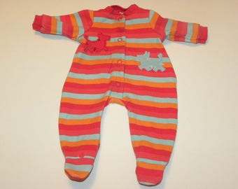 Striped Footed Sleeper - 16 - 17 inch doll clothes