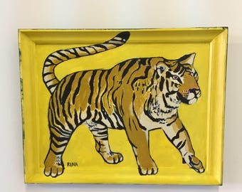 Original Acrylic Painting Of A Tiger On Hardboard