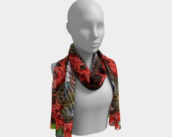 Butterflies on Red Flowers Long Scarf