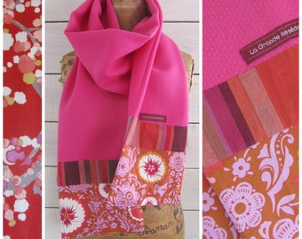 """Scarf long, wool and bright pink cotton fabric Japanese flowers """"kiku rose"""" and stripes"""