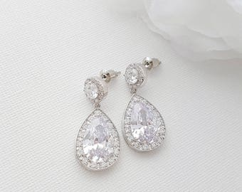 Crystal Bridal Earrings, Wedding Jewelry, Crystal Drop Earrings, Teardrop Earrings, Rose Gold,Gold, Crystal Wedding Earrings, Evita