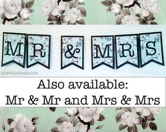 Mr & Mrs Banner - White Roses on Light Blue Design