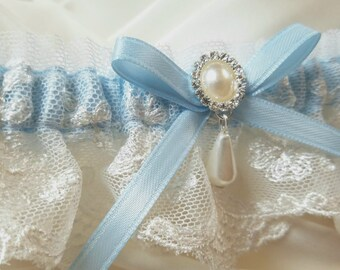 Lace Garter, Wedding Garter with Satin Ribbon Bow Topped by Pearl and Crystal Detail - Petite MEREDITH Garter