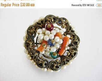 ON SALE ON Sale Pretty Vintage Deco Era Wired Faux Pearl, Coral and Glass Brooch Pin