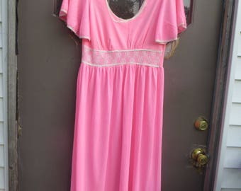 Vintage  60s   hot pink    long  Nightgown with Lace, Romantic Nightgown, bell sleeves    Vintage Negligee  med
