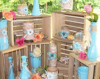 PICK ME SALE Crates Rustic Wood 18 inch planter box wedding reception favors decorations mason jar vase centerpiece wood reclaimed country d