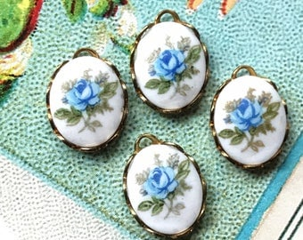 Blue rose charms, porcelain charms,garden Vintage Charms Limoges,9x12mm charms,Dangles Drops,Limoges Connectors Findings #493C