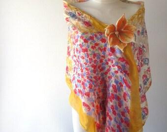 Nuno felted scarf, yellow white red felt scarf,  women silk scarf , Floral Women shawl silk Rose  scarfwool silk shawl felted stole