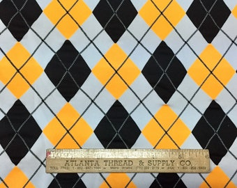Yellow Gold and Black Argyle Plaid Spandex Print