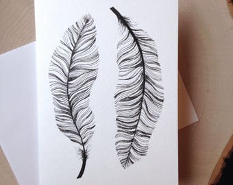 Feather Card, 5 x 7 Black and White Illustrated Blank Card, Birthday Card, Gift for Women, Gift for Her, Feathers