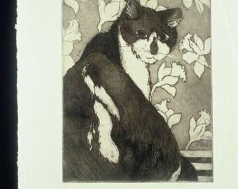 Original Fine Art Etching with Aquatint Untitled (cat)