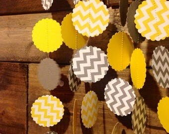 End of Summer Sale Grey and White Chevron and Yellow and White Chevron Paper Garland Birthday Party Decor, Baby Shower Decor, Nursery Decora
