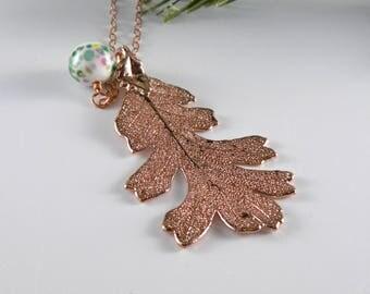 Rose Gold Plated Oak Leaf, Real Leaf Pendant Necklace, Gift for Mom