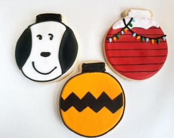 Snoopy and Peanuts Themed Christmas cookies (2 dozen)