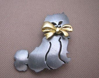 Pewter tone vintage Cat brooch cat pin w/bow by Ultra Craft