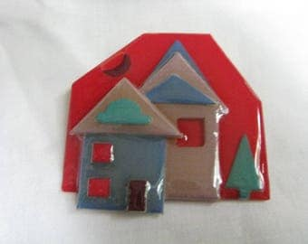 Lipstick Red Geometric House Pin by Lucinda