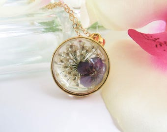 Forget Me Not Necklace, Pressed Purple Real Flower Pendant In Gold Plate, Flower Pressed Between Glass