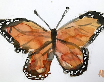 Monarch Butterfly no. 5 Original Watercolor Painting by Angela Moulton