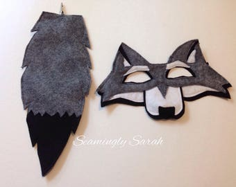 Child's Felt Wolf Mask and Tail - Halloween, Costume, Dress Up