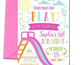 Park Party Invitation, Park Birthday Invitation, Party at the Park, Girl's Park Party, Playground Invitation, Outdoor Party, Girl's Birthday