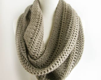 Gray Crochet Infinity Scarf - Taupe Knit Scarves - Pure Wool Winter Loop Scarf - Unisex Scarf