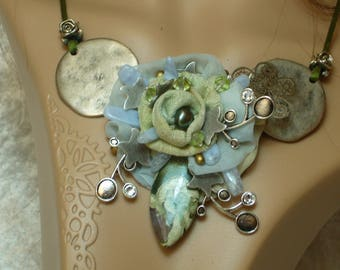 periwinkle blue sea green silk and stone necklace