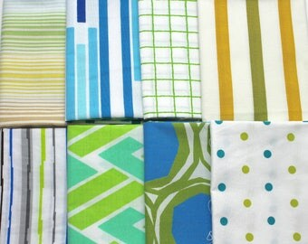 Vintage reclaimed Bed Sheet Fabric Fat Quarters - Blue Green Stripes and Geometrics - set of 8