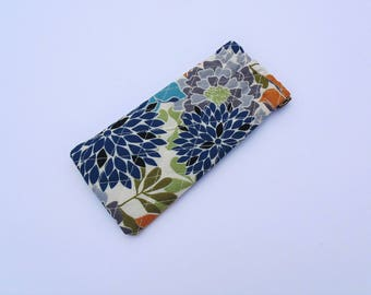 Eye Glass Case, Quilted Cotton Case, Flex Frame Case, Blue and Ivory Floral