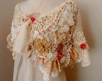 lace wedding wrap, shabby chic cotton wrap, boho wrap, vintage lace collar,  lace capelet mini wrap,