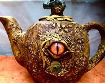One of a Kind Dragon Eye Teapot   Made in NYC Blue Bayer