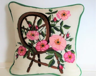 Wild Rose and Spinning Wheel Needlepoint Accent Pillow