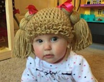 Light Brown CABBAGE PATCH Wig HAT,  Baby - Toddler - Girl, You Pick Size!!