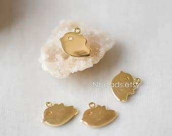 10pcs Real Gold plated Brass Bird Charms 12mm (GB-116)