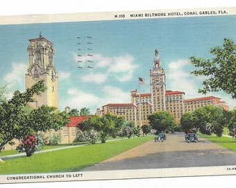 Vintage Florida Linen Postcard Coral Gables Miami Biltmore Hotel and Congregational Church To Left USED